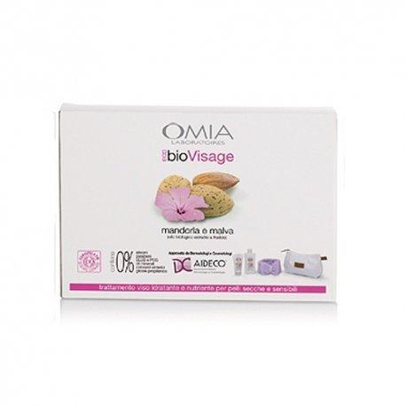 Omia - Cofanetto ecobio visage beauty routine mandorla e malva - crema viso 75 ml + detergente viso 200 ml + fascia per