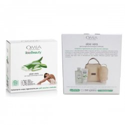 OMIA ALOE VERA kit regalo bagno 400 ml + crema corpo 200 ml + guanto esfoliante + beauty case in cotoneOMIA ALOE VERA k